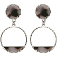 Drop Circular Earrings With Grey Animal Print Style Stone Effect - Silver
