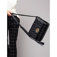 Cross Body Bag With Quilted Design And Double Ring Design - Black