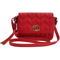 Cross Body Bag With Quilted Design And Double Ring Design - Red