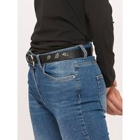 Black Studded Floral Belt - Black