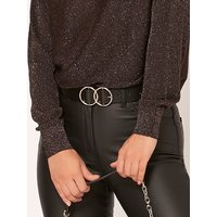 Belt With Double Ring Detail Buckle - Black