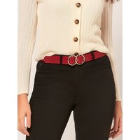 Belt With Double Ring Detail Buckle - Red