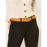 Belt With Double Ring Detail Buckle - Ochre