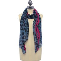 Blue Scarf With Leopard Pirnt And Pink Trim - Blue
