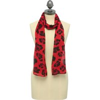 Leopard Print Scarf Lightweight Red And Black - Brick Red