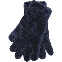 Fulffy Knit Gloves One Size Fits All Magic Glove - Navy