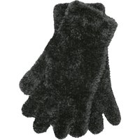 Fulffy Knit Gloves One Size Fits All Magic Glove - Black