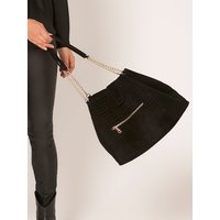 Ladies suede shoulder bag with chain strap croc effect button fastening gold tone chain  - Black
