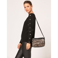 Cross Body Bag In Leopard Print - Black