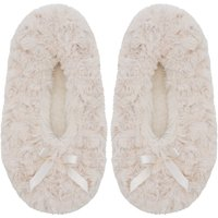 Footsie Slippers In Cream Faux Fur - Natural