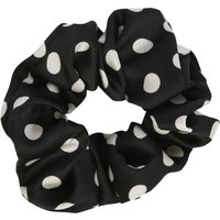 Black Hair Scrunchie With Polka Dot Print - Black