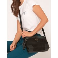 Cross Body Bag With Snake Print Panel - Black