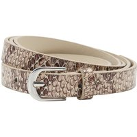 Narrow Belt With Snake Print And Silver Tone Buckle - Natural