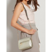 Cross Body Bag With Long Chain Strap And Interchangeable Wrist Strap - Silver