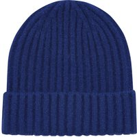 Ladies plain beanie hat with ribbed knit design  - Blue