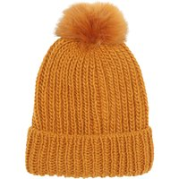 Ladies woolly hat with pompom and rib knit  - Amber