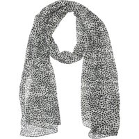 Cheetah Print Lightweight Scarf Sheer Monochrome - Ivory