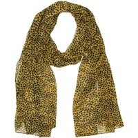 Cheetah Print Lightweight Scarf Sheer Monochrome - Ochre