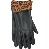 Black Leather Look Gloves Woith Leopard Print Linng - Black
