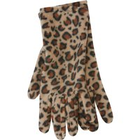 Fleece Gloves With Leopard Print Pattern - Natural