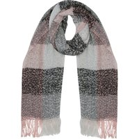 Boucle Knit Scarf Grey And Pink Block Check Pattern Fringed Edge - Multicolour
