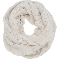 Cream Flower Inspired Knit Fringe Snood Scarf - Cream