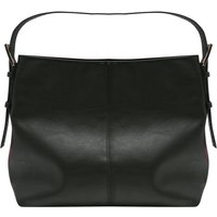 Croc Strap Hobo Bag Plain Buckle Detail Zip Fastening - Black