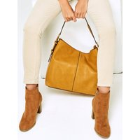Croc Strap Hobo Bag Plain Buckle Detail Zip Fastening - Ochre