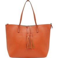 Faux Leather Shopper Bag With Tassel Tie Shoulder Strap Red Lining Removable Inner Bag - Tangerine