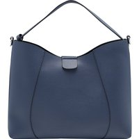 Faux Leather Hobo Bag Removable Wallet & Bag Compartment Plain - Blue