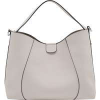 Faux Leather Hobo Bag Removable Wallet & Bag Compartment Plain - Grey