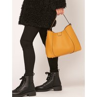 Faux Leather Hobo Bag Removable Wallet & Bag Compartment Plain - Ochre