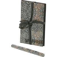 Notepad and pen set with animal print design 12cm x 8.5cm  - Black