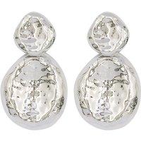 Ladies silver pebble style drop earrings  - Silver