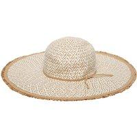Ladies straw floppy hat  - Natural