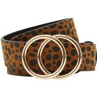 Ladies cheetah print double ring belt  - Natural