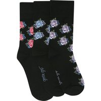 ladies black rose print gentle grip socks - three pack  - Black