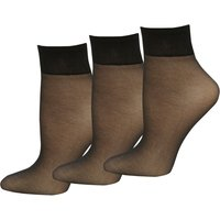 10 Denier Classic Gloss Finish Reinforced Toe Ankle Highs Socks- 3 Pack - Black