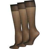 Classic Comfort 10 Denier Gloss Knee Highs Tights - 3 Pack - Black