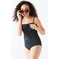 Teen girl belted swimsuit  - Black