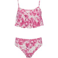 Teen girl pink and white tie dye print frill crop top and matching briefs bikini set  - Pink
