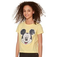 Mickey Mouse teen girl yellow two way sequin short sleeve character print shorter length t-shirt L -