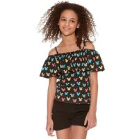 Mickey Mouse teen girl black character silhouette print frill bardot top  - Black