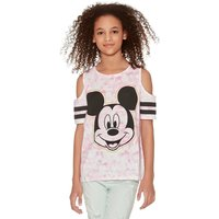 Mickey Mouse teen girl 100% cotton pink tie dye print character cold shoulder t-shirt  - Pink