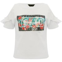 Teen girl 100% cotton white short ruffle sleeve cold shoulder two way Tokyo sequin t-shirt  - White