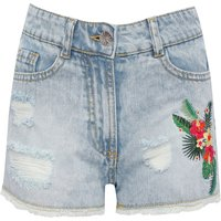 Teen girl light wash 100% cotton floral embroidery frayed ripped denim shorts  - Denim