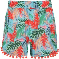 Teen girl turquoise tropical palm leaf print red pom pom trim lightweight summer shorts  - Turquoise
