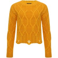 Teen girl long sleeve glitter thread ochre cable knit distressed hem jumper  - Ochre