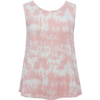 Teen girl jersey sleeveless pink white glitter tie dye print crew neck relaxed vest top  - Pink