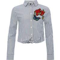 Teen girls long sleeve tie front cropped length floral butterfly embroidered cotton shirt  - Blue